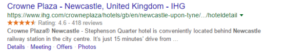 Google Rich Snippet ratings example for hotel